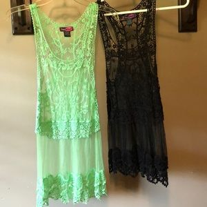 Two lace tanks.